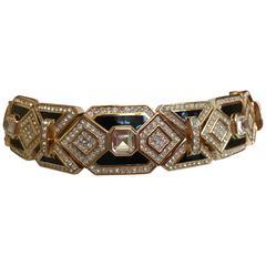 Christian Dior Wide Vintage Crystal And Enamel Chocker by Grosse Germany