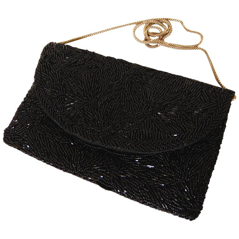 Walborg Black Jet Bead Evening Bag Envelope Clutch with Silver Box Chain 1960s