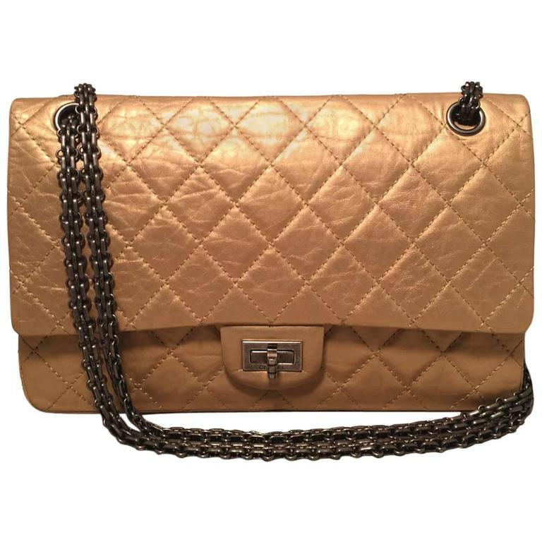 Chanel Gold Leather 2.55 Reissue 226 Double Flap Classic  For Sale