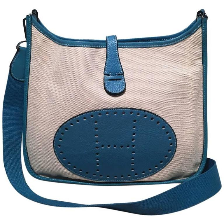 Hermes Toile Canvas and Blue Leather Medium Evelyne II PM Bag  For Sale