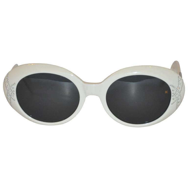 Laura Biagiotti White Accented with Silver Hardware & Studs Sunglasses For Sale