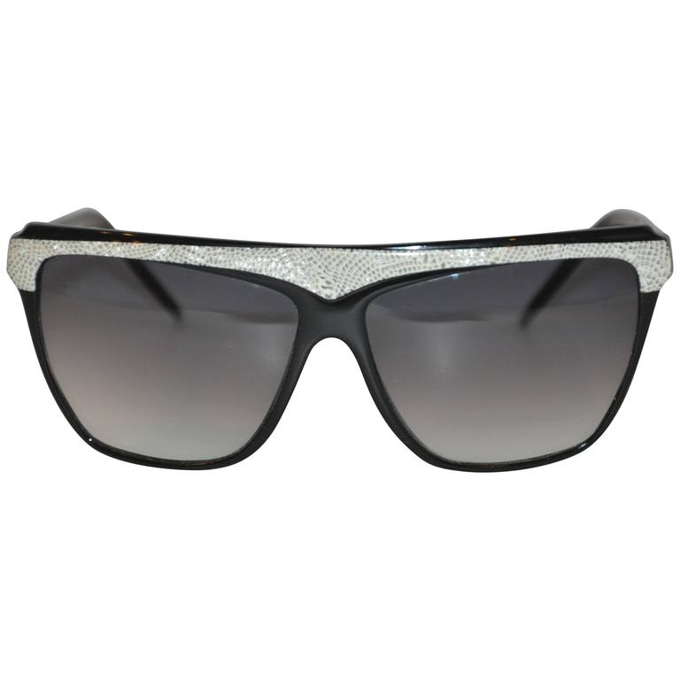 """Laura Biagiotti Black Lucid with Gray & Cream """"Snake"""" Lucid Sunglasses For Sale"""