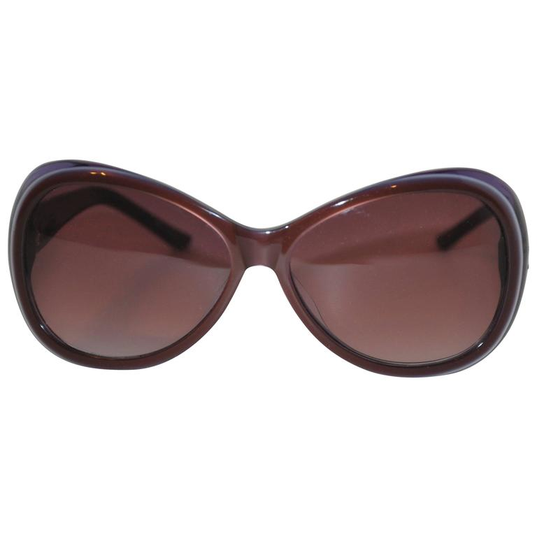 """Judith Leiber """"Shades of Violet"""" Lucid with Micro Rhinestone """"Leafs Sunglasses For Sale"""