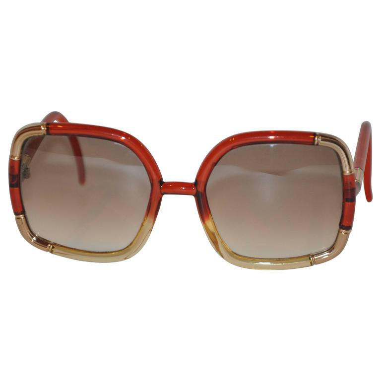 "Ted Lapidus Red & Gold Lucid with Engraved Gold Tone ""Bamboo"" Sunglasses"