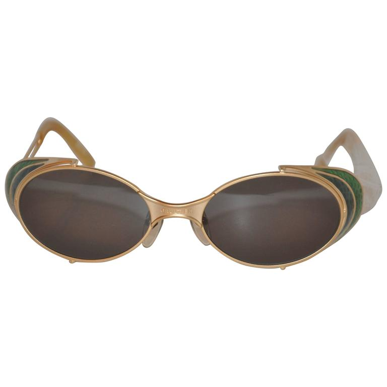 "Jean Paul Gaultier ""Shades of Greens"" Gold Hardware Sunglasses"