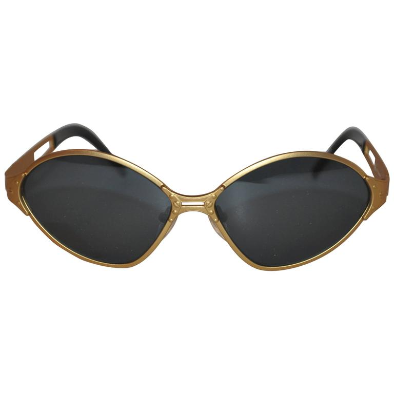Jean Paul Gaultier Gold Tone Accented with Stud Sunglasses