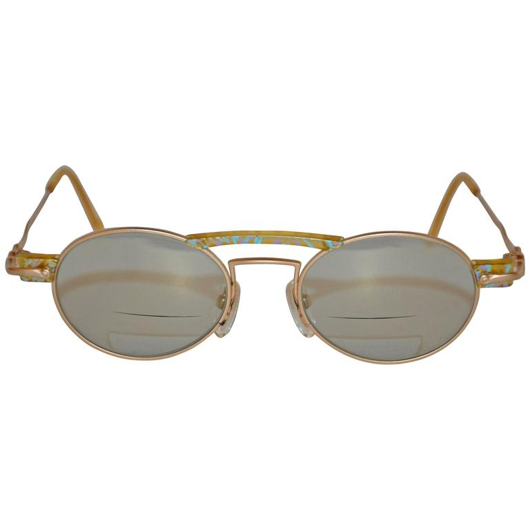"Kansai Yamamoto Matte Gold Tone with Multi-Color ""Swirls"" Sunglasses"