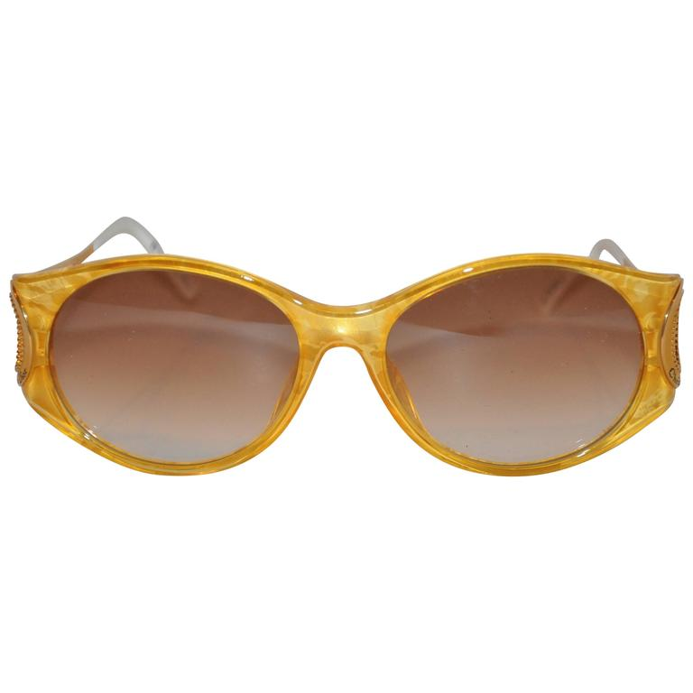 "Christian Dior ""Burst of Yellow"" Lucite with Gilded Gold Hardware Sunglasses"