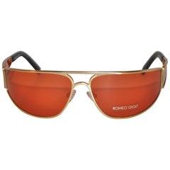 Romeo Gigli Gold Hardware Wraparound Sunglasses