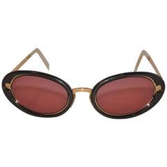 Salvador Ferragamo Gilded Gold Hardware with Black Lucite Sunglasses
