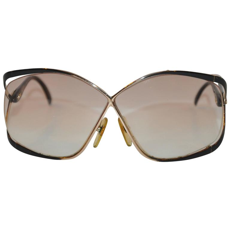Christian Dior Huge Gilded Gold Hardware, Black Lucite Overlay Glasses