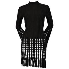 1991 AZZEDINE ALAIA black and navy blue accented fringed mini dress