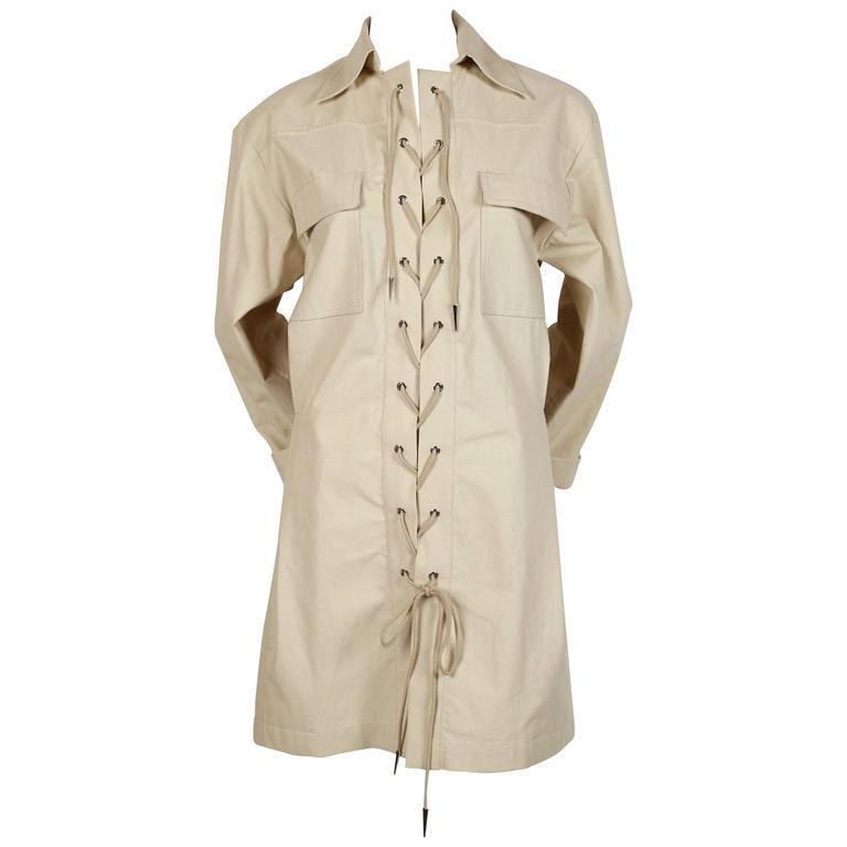 unworn 1980's YVES SAINT LAURENT tan safari tunic dress 1