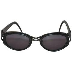 Yohji Yamamoto Matte Black Lucite Double Frame Sunglasses