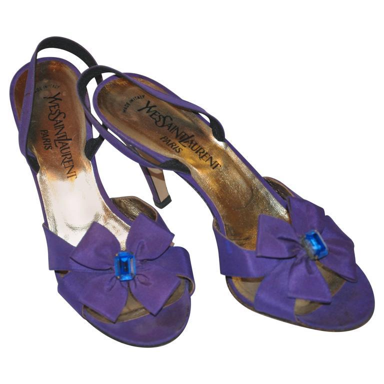 """Yves Saint Laurent Violet Silk Satin Sling-Back """"Bow"""" Evening Sandals"""