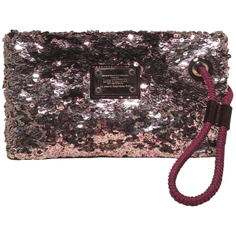 Limited Edition Louis Vuitton Violette Sequin Rococo Pochette Clutch Bag For Sale