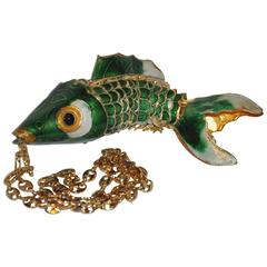 Large Gold Hardware Enamel Fish with Gucci-Style Links Necklace.