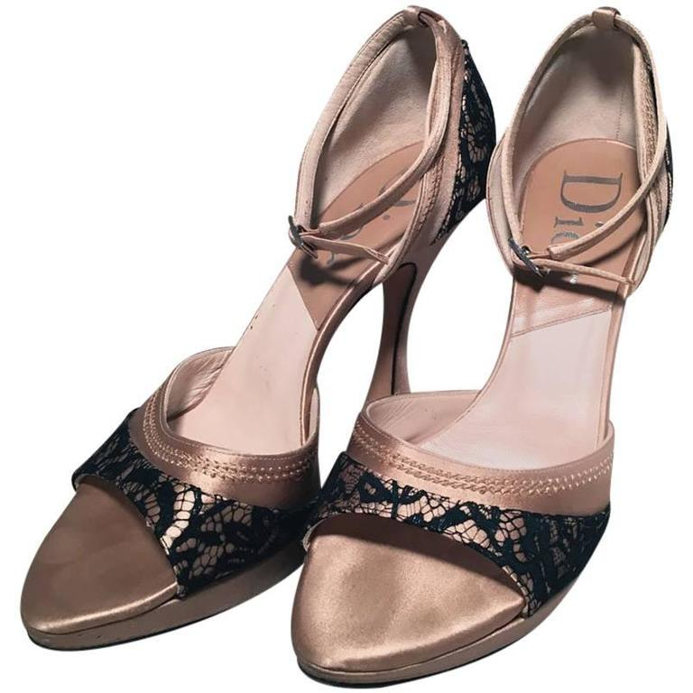 8e8559781b6e Christian Dior Blush Satin and Black Lace High Heel Ankle Strap Shoes Size  7 For Sale