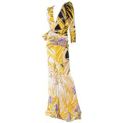 Leonard Tropical Print Silk Jersey Gown