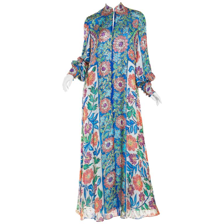 Metal Embroidered Hand Painted Silk Kaftan Dress For Sale