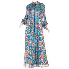 Metal Embroidered Hand Painted Silk Kaftan Dress