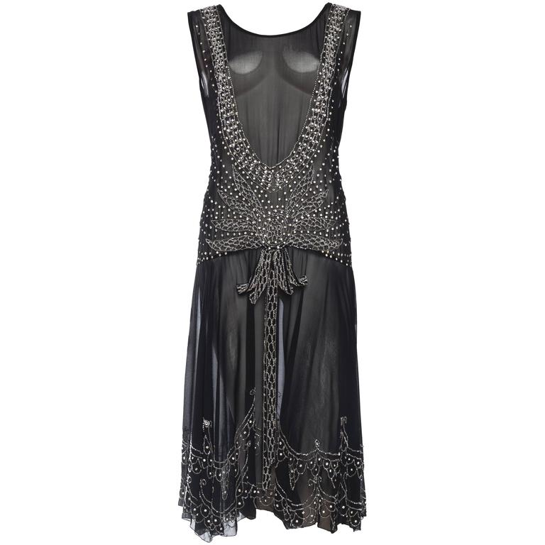 Sheer Silk Chiffon 1920s Dress Beaded with Crystals For Sale