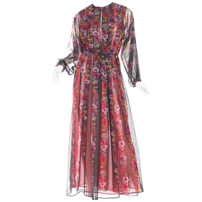 1970s Giorgio Sant Angelo Sheer Chiffon boho Dress