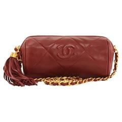 Vintage Chanel Dark Red Quilted Leather Fringe Mini Pouch Bag