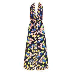 1970s OSCAR DE LA RENTA navy blue floral print halter jersey dress