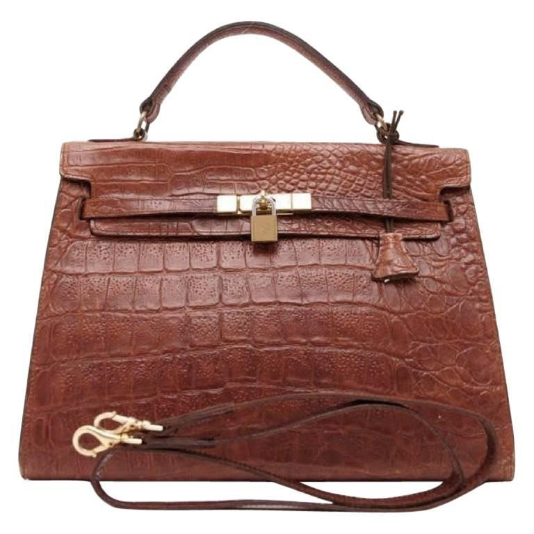 Mulberry Vintage Mulberry Croc Embossed Leather Kelly Bag With Shoulder Strap. Roger Saul Fx1XV5az
