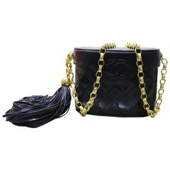 "Chanel Black Quilted Lambskin ""CC"" Logo Gold Chain Shoulder Bag with Tassel"
