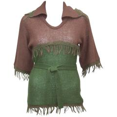 C.1970 La Squadra Wool Knit Fringed Sweater Top