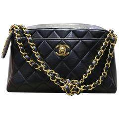 Chanel Black Classic Quilted Lambskin Gold Chain Knot Bag