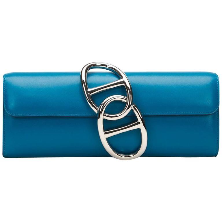2015 Hermes Blue Izmir Tadelakt Leather Egee Clutch 1