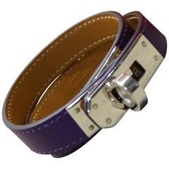 Hermes Purple Kelly Double Tour Leather Bracelet In Silver Toned Hardware