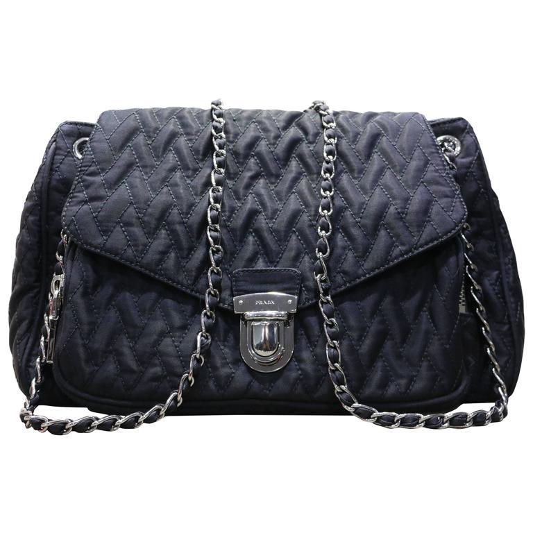 Prada Black Ziczac Silver Chain Shoulder Flap Bag