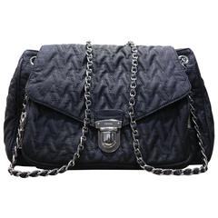Prada Black Ziczac Silver Chain Shoulder Flap Bag