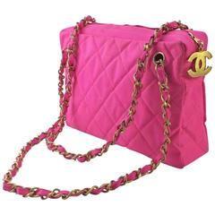 Chanel Pink Woven Quilted Chain Shoulder Bag