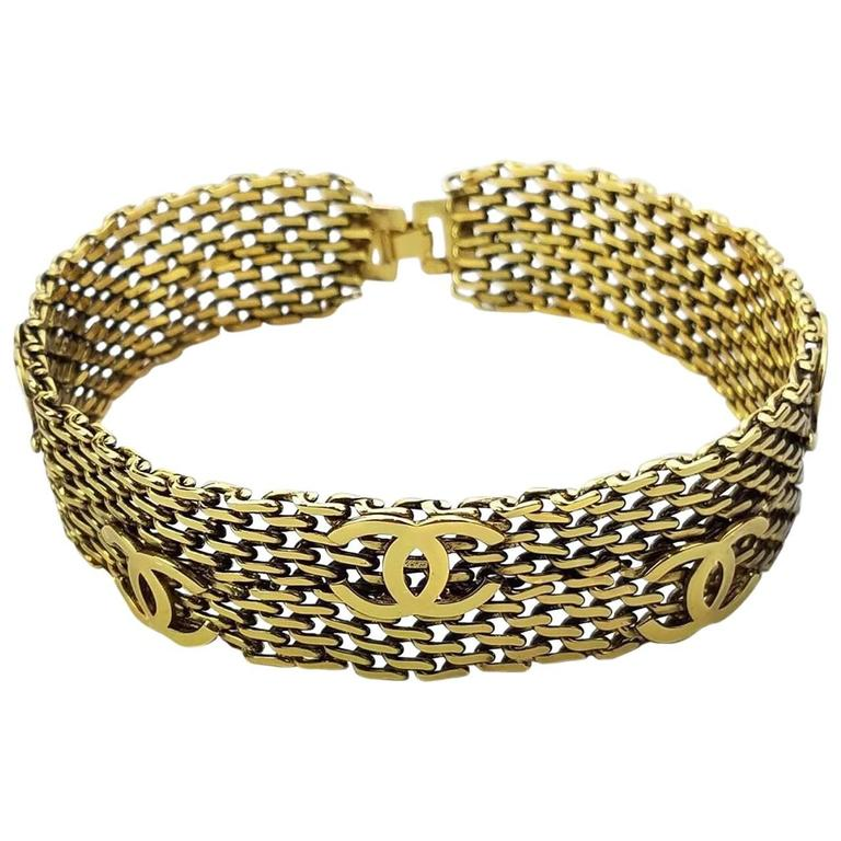 "Chanel Gold Toned Hardware ""CC"" Logo Chain Bracelet  1"