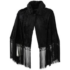 1960's Artisanal Balzani Black Sheepskin Fur Cape