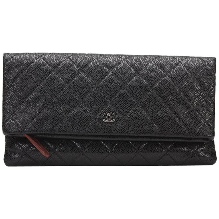 aebd2dfd2093 ... 2015 Chanel Black Quilted Caviar Leather Beauty CC Foldover Clutch For  Sale