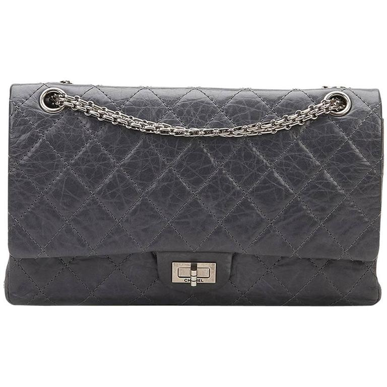 59faf6fa76021d 2000s Chanel Grey Quilted Calfskin 50th Anniversary 2.55 Reissue 226 Double  Flap For Sale