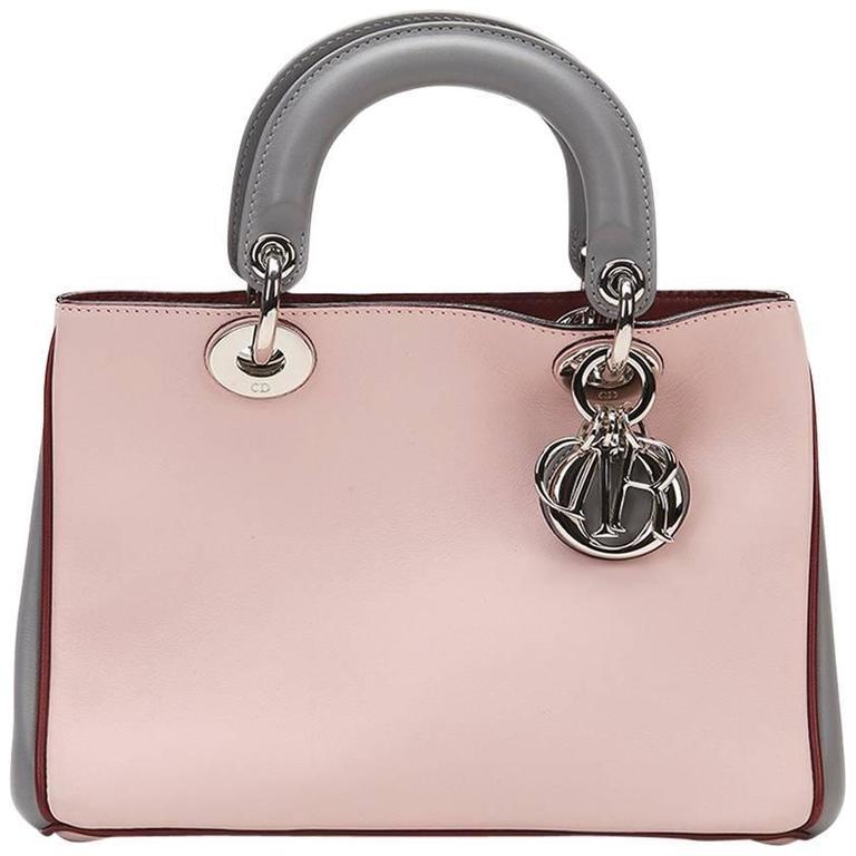 2014 Christian Dior Pink, Grey & Burgundy Calfskin Mini Diorissimo For Sale