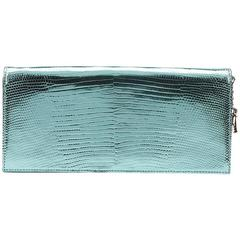 2010s Christian Dior Mint Embossed Metallic Patent Leather Evening Clutch