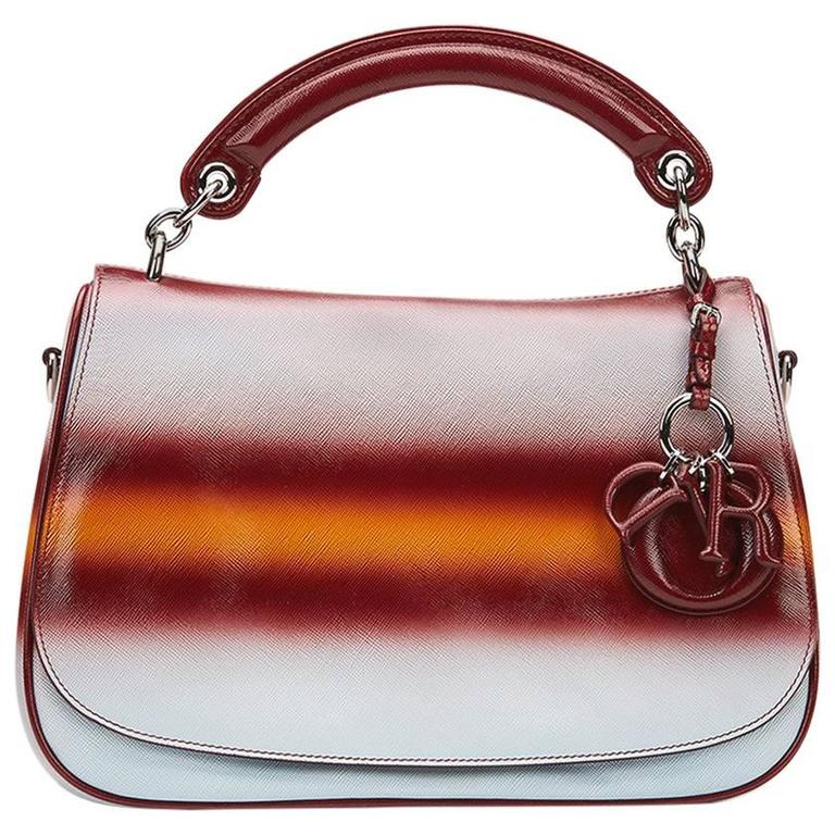 2010s Christian Dior Maroon, Mustard & Blue Gradient Grained Calfskin Dune Bag For Sale
