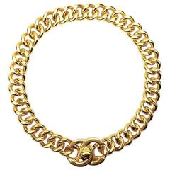 "Chanel Gold Toned Hardware ""CC"" Logo Chain Necklace"