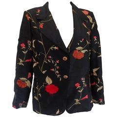 1980s Vintage Black Shantung Flower Jacket
