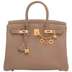 Hermes Etoupe Togo 35cm Birkin Bag Taupe Gold Hardware Iconic