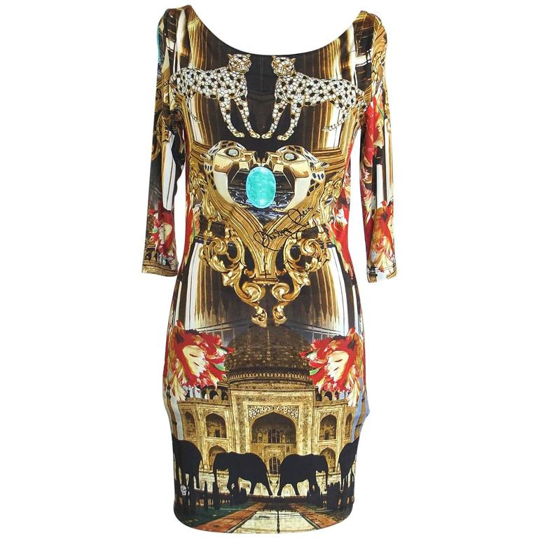 288da82da6f Philipp Plein Couture Dress Limited Edition Exotic Indian Print 3/4 Sleeve S  For Sale