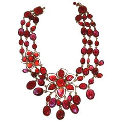 Exclusive One of a Kind French Poured Glass Double Flower Exceptional Necklace